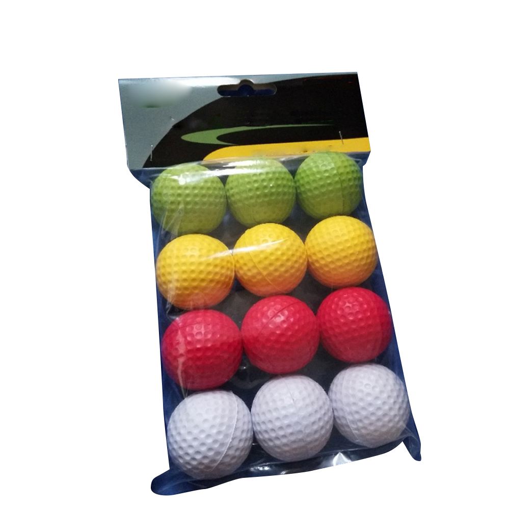 42mm Soft Elastic PU Golf Practice Training Ball For Children Beginner Indoor Outdoor Golf Learning 12 Pcs/pack