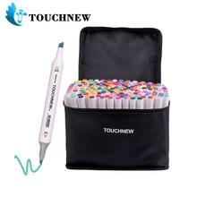 Touchnew marcadores feltro-ponta oleosa caneta marcador de escova gêmea para desenho manga moda rotulação canetas de escova