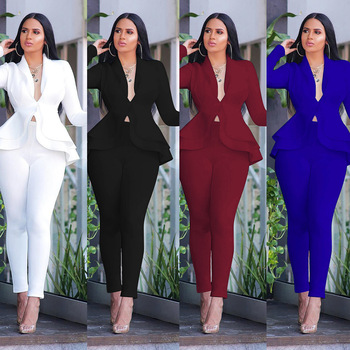 New Women Winter Women's Set Tracksuit Full Sleeve Ruffles Blazers Pencil Pants Suit Two Piece Set Office Lady Outfits Uniform image