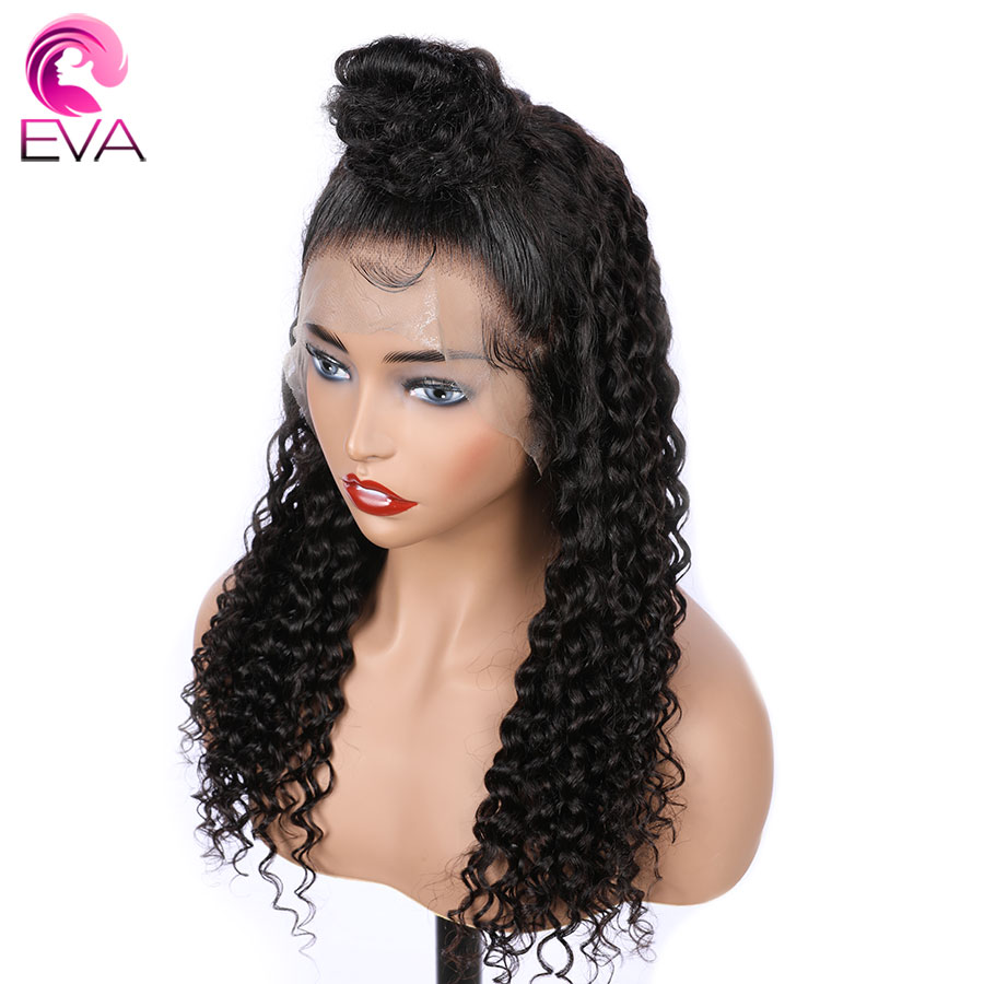 Eva 150% Density Full Lace Human Hair Wigs Curly Brazilian Glueless Remy Hair Wigs For Black Women Pre Plucked With Baby Hair