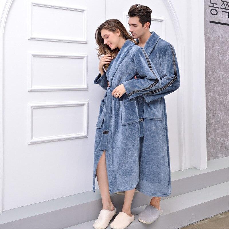 Femmes hiver grande taille longue flanelle peignoir Kimono chaud bleu Robe de bain nuit fourrure Robes demoiselle d'honneur Robe de chambre hommes vêtements de nuit
