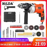 Hilda impacto furadeira elétrica martelo rotativo elétrico com bmc e 5 pces acessórios furadeira de impacto furadeira elétrica|Furadeiras elétricas| |  -