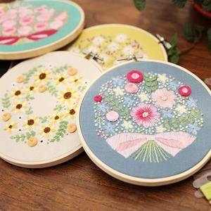 15 см Европейский набор для рукоделия с растениями и цветочной лентой, домашний декор, для начинающих, рукоделие, вышивка крестиком, настенна...