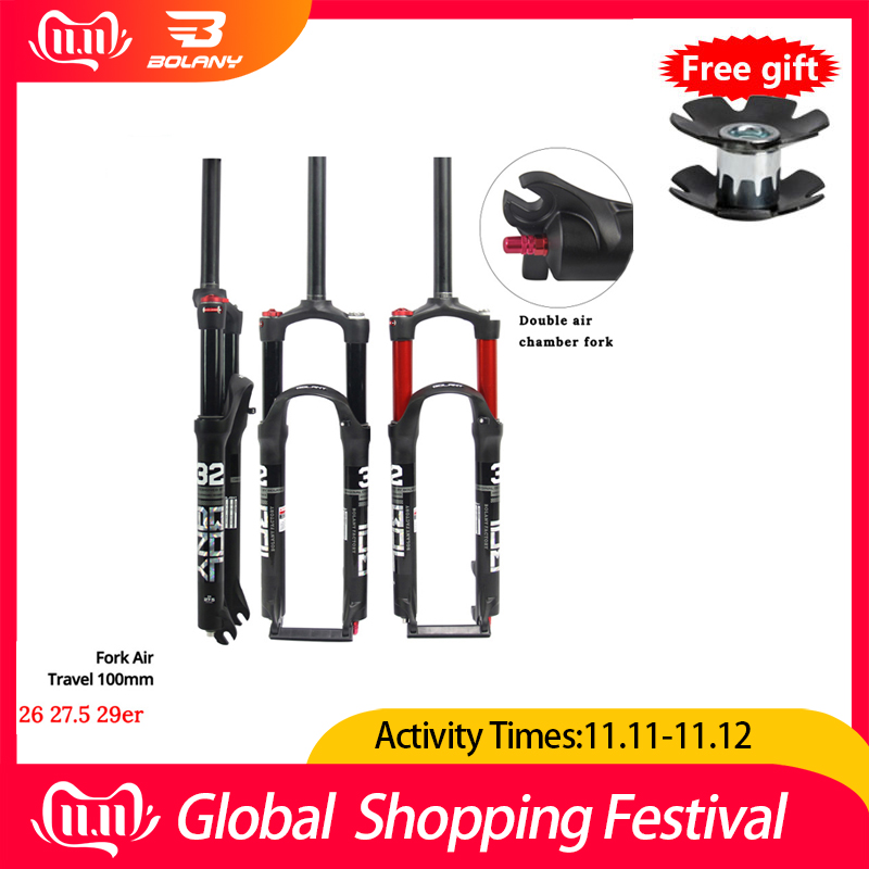 2019 New 26/27.5/29er MTB Suspension Air Fork Magnesium Alloy Double Shoulder Double Air Oil Line Lock Straight Tapered Fork