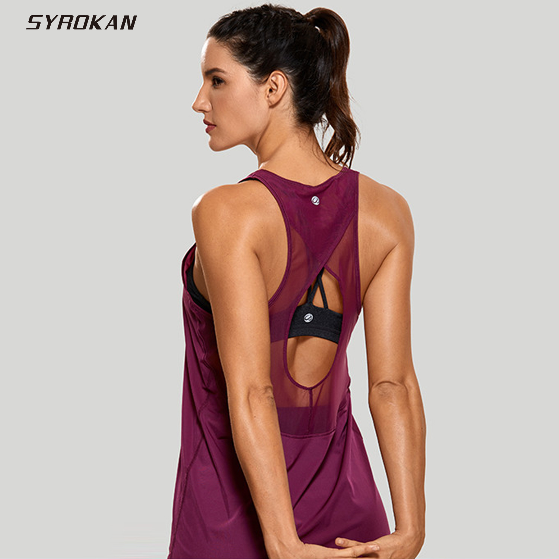 SYROKAN Women's Tops Activewear Mesh Workout Sports Racerback Cute Tank Tops