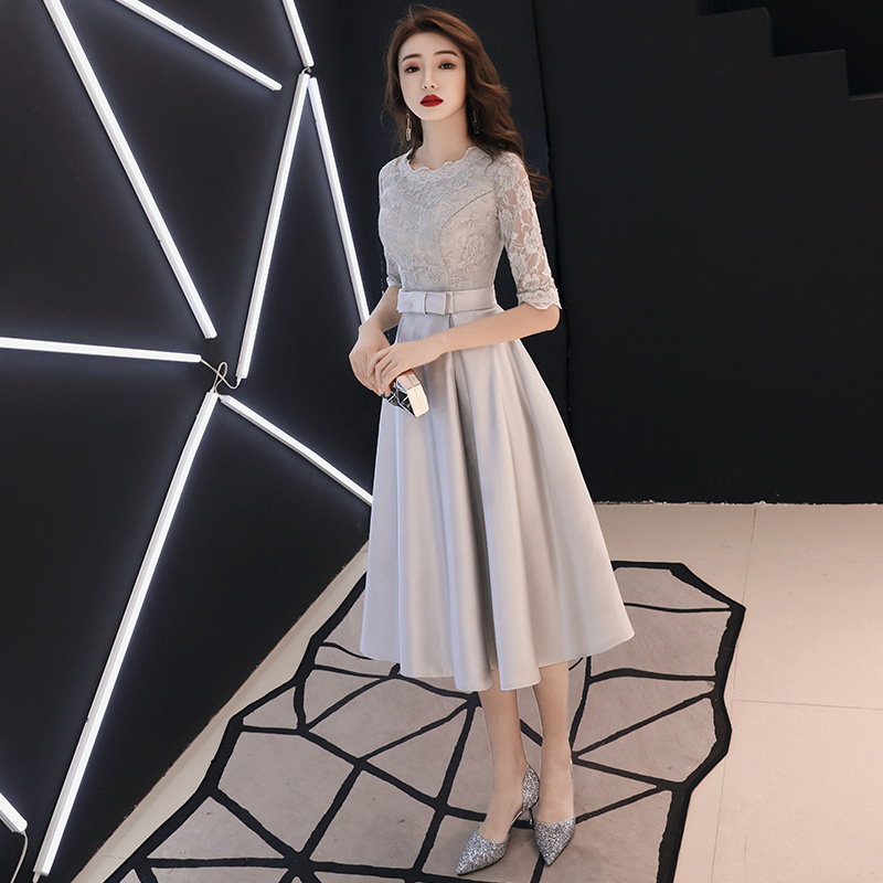 Bridesmaid Service Mid-length 2019 New Style Autumn And Winter Korean-style Gray Bridesmaid Mission Formal Dress Sisters Skirt S