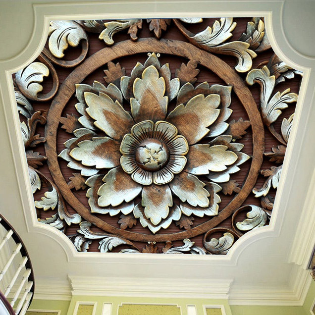 European Style Simple Ceiling Wallpaper Flower Wallpaper Living Room Bedroom Roof Wallpaper 3D Circle Mural