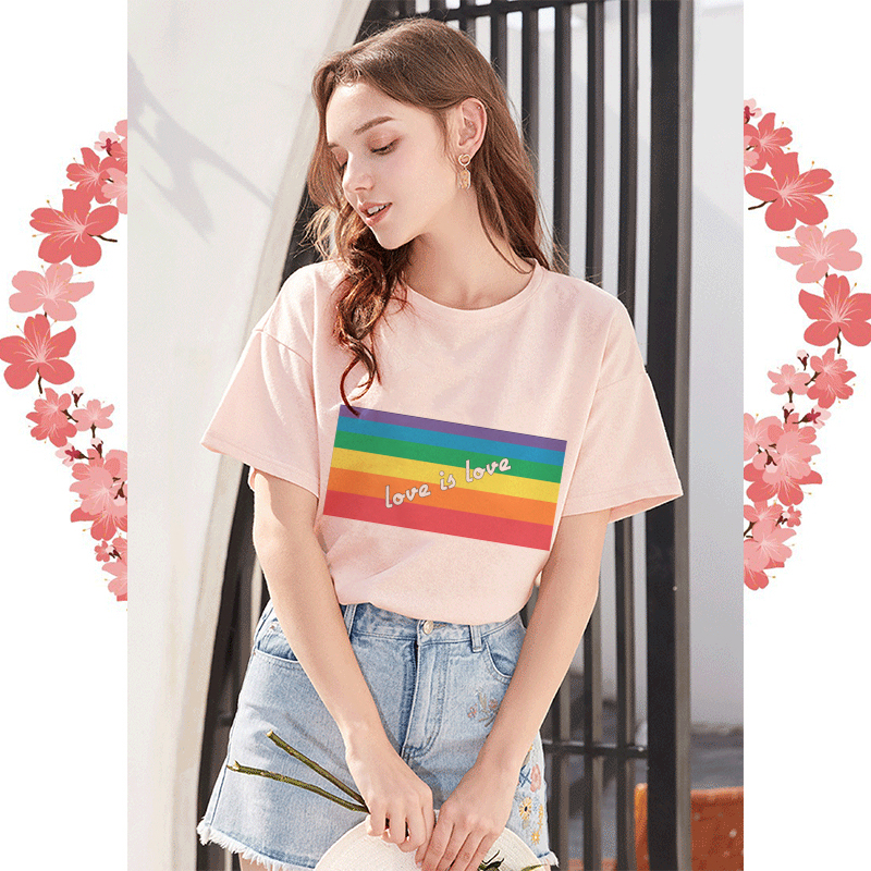 Harajuku Lgbt <font><b>T</b></font> <font><b>Shirt</b></font> Love Is Love Female <font><b>Bisexual</b></font> Lesbian Gay Tshirt Women Lesbian Rainbow Tops Clothes Tee Femmes Aesthetic image