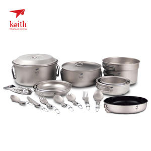 Keith Tableware-Set Titanium Outdoor Camping Knife-Fork Dish-Plate Spoon Spork Durable