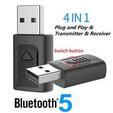 USB Bluetooth 5.0 Adapter 3.5mm AUX BT Audio Receiver Transmitter Wireless Dongle For Car TV Speaker 4 in 1 Bluetooth Adapter