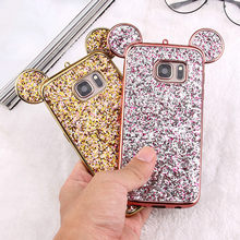 Cute 3D Mouse Ears Phone Case For Samsung Galaxy S10 E S9 S8 Plus S7 S6 Edge S9Plus Soft Silicone Luxury Glitter Bling Red Cover(China)