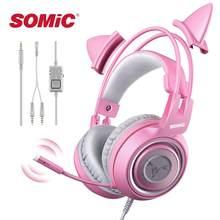 SOMIC – casque filaire de Gamer, oreille de chat rose, mignon, PS4, téléphone PC avec Microphone, 3.5mm, PS4, over Ear, Gamer, rose, G951s
