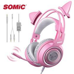Проводная Гарнитура SOMIC, игровая розовая гарнитура «кошачьи уши», милая гарнитура для PS4, телефона, ПК с микрофоном, игровой телефон 3,5 мм, нак...