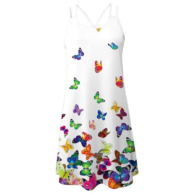 Women'S Summer Short Suspender Dress 3d Printing Sling O-Neck Hollow Out Slim Bottoming Shirt Ladies Dress платье летнее M* 8