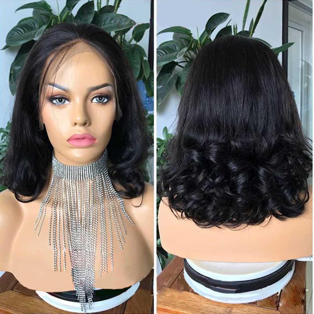 Peluca ondulada pelucas frontales de encaje de densidad 180 para mujeres pelucas de Color negro profundo parte 13x4 pelucas frontales de encaje Aimoonsa cabello Remy europeo