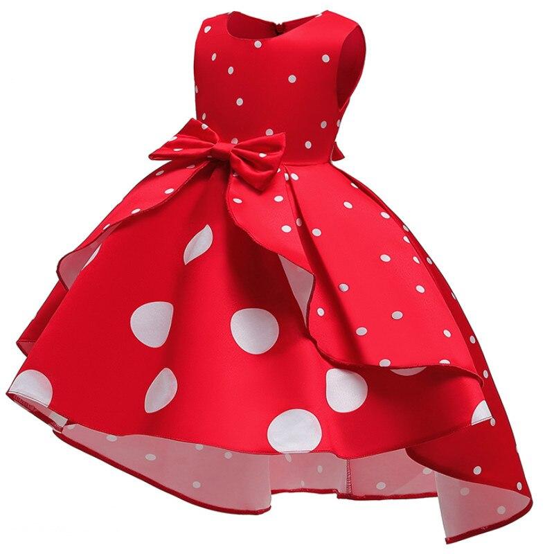 Baby Girls Christmas Flower Striped Dress For Girls Wedding Party Dresses Toddler Kids Brithday Dot Dress Children Clothing 2