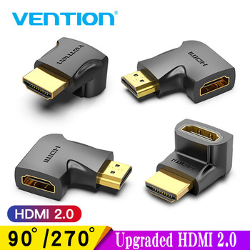 Vention HDMI Adapter 90 270 Degree Right Angle HDMI Male to HDMI Female Cable Converter for HDTV PS4 PS5 Laptop 4K HDMI Extender image