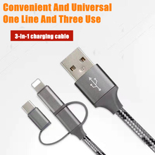 3 in 1 Charging Cable Micro Usb Type C Fast Charger For Mobile Phone Universal Travel Micro USB Wall Charger For iPhone Samsung quick charge 3 0 usb charger travel for iphone samsung micro usb type c fast charging 3 ports eu us plug mobile phone charge
