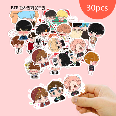 30Pcs BTS Cartoon Sticker For Luggage Skateboard Phone Laptop Moto Bicycle Wall Guitar/Eason Stickers/DIY Scrapbooking