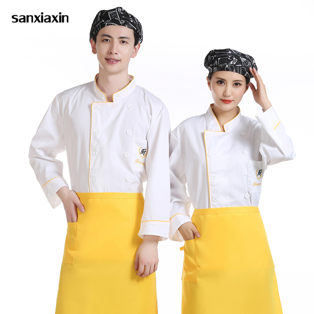 Long Sleeved Chef Shirt Sushi Chef Coat Food Service Waitress Buffet Restaurant Kitchen Work Jackets New Wholesale Women And Men