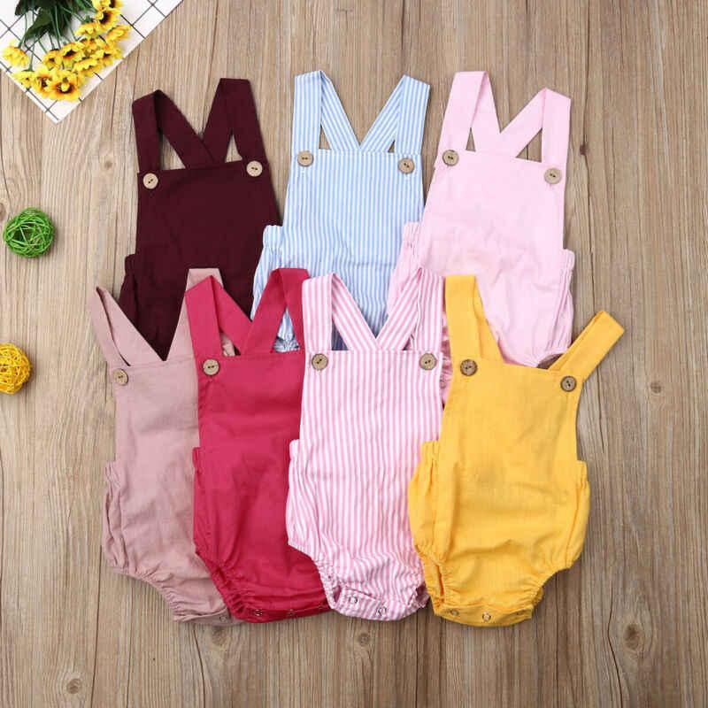 Baru 2020 Bayi Bayi Bayi Anak-anak Gadis Baju Monyet Katun Musim Panas Tanpa Lengan Satu Potong Tali Ikat Celana Kodok Kapas Pakaian Pakaian