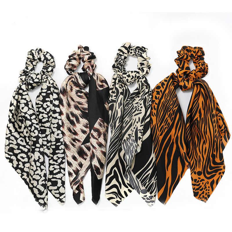 Leopard Großen Bogen Verknotet Haar Seil Lange Streamer Scrunchies Frauen Mode Elastische Haar Schal Haar Ringe Haar Zubehör Headwear