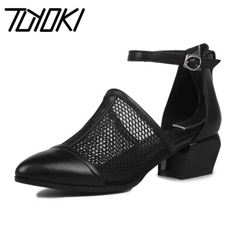 Tuyoki nuevo tamaño 34 40 cuero genuino negro mujeres