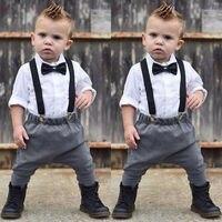 2 предмета; Одежда для новорожденных мальчиков; деловой костюм джентльмена; комбинезон; топ с длинными рукавами и бантом; комплект одежды; ко...
