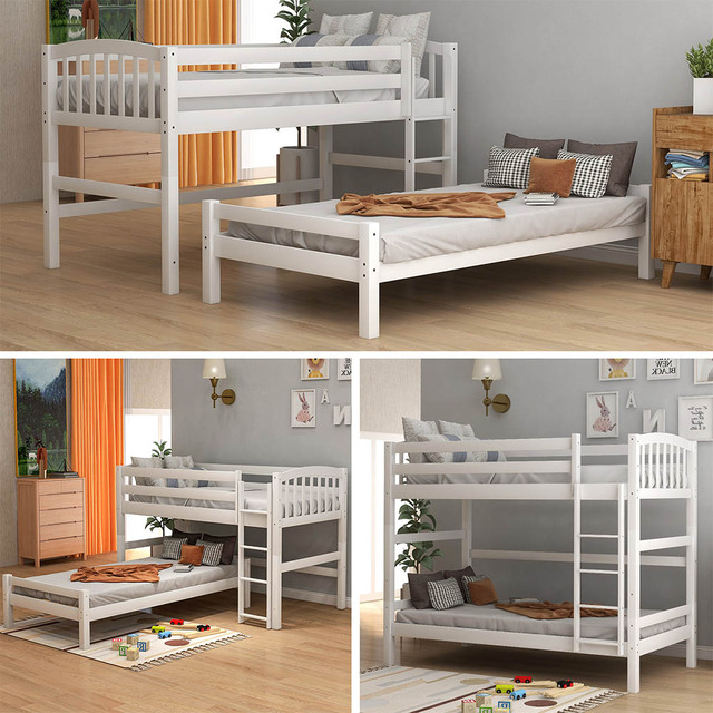 Triple Bed with Ladder  Bed Frame 2