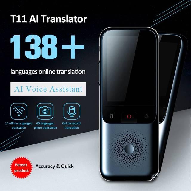 T11 Smart Instant Translator 138 Languages Online Offline Dialect Real time Voice Recording Translation HD Noise Reduction