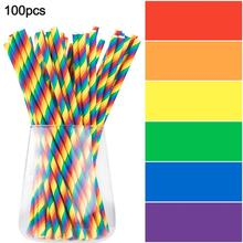 Suction-Tube Drinking-Supplie Rainbow Plastic Disposable 100pcs Sucker Beer-Juice Party-Bar