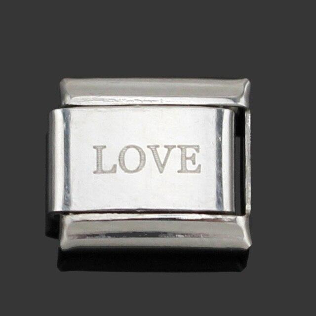 Hapiship Original Daisy Orange White Love Faith Hope Dream Letter Charm Fit 9mm Bracelet Stainless Steel Jewelry  Making DJ002