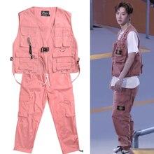 Hip Hop Costumes Childs Vest Large Pocket Tooling Set Adults Street Dance Clothi