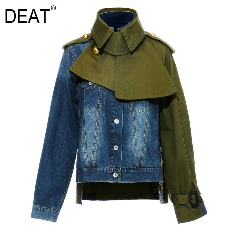 DEAT 2020 New Fashion Clothes Turn-down Collar Spliced Green Patchwork Denim Jacket Single Breasted Short Coat WK47004L