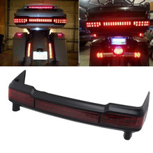 Red Smoked Lens Motorcycle Wrap Tour Pack LED Luggage Trunk Running Brake Tail Light For Harley Touring Electra Road Glide