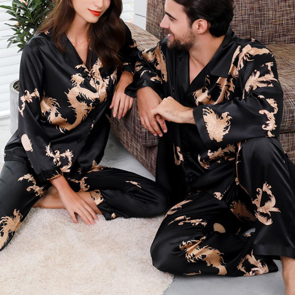 Men Women Pajamas Set Soft Imitation Silk Dragon Print Shirt Pants Couple Sleepwear Pajama Sets Unisex Pyjamas Sleepwear