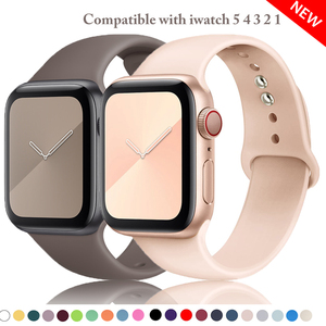 Soft silicone band for apple watch 38mm 42mm sport bracelet belt 40mm 44mm strap for iwatch series 5 4 3 2 1 rubber watchbands