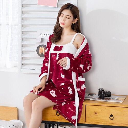 Women Sling Warm Flannel Sleepwear Winter 2 Peices Nightwear For Women Long Sleeves Breathable Sexy Robe SleepDress Home