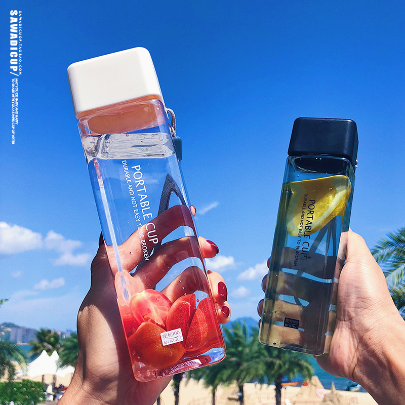 H3c79d619e1e14e7ba55617b442b7330cp 500ml Cute New Square Tea Milk Fruit Water Cup for Water Bottles Drink with Rope Transparent Sport Korean Style Heat Resistant