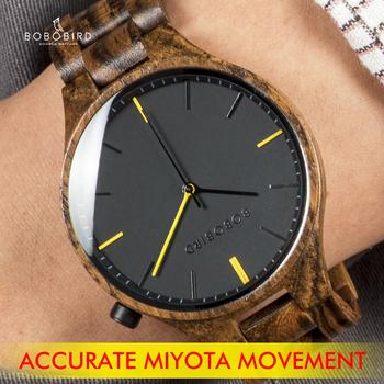 Zegarki meskie 2020 BOBOBIRD Top marka drewniany zegarek męskie zegarki na rękę zegarek zegarek z pudełkiem L-S27 tanie i dobre opinie BOBO BIRD 22cm Moda casual QUARTZ NONE bez wodoodporności Zapięcie bransolety CN (pochodzenie) Drewniane 10mm Hardlex