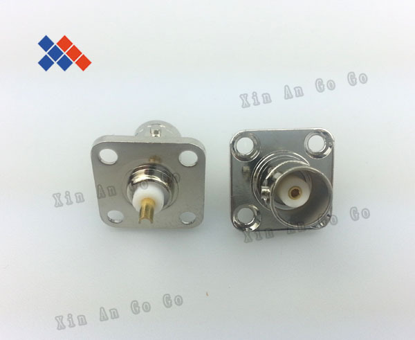 RF Coaxial Square Plate BNC Female Four Hole Connectors