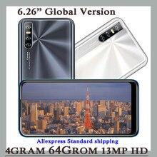 Smartphones 4gb ram 64gb rom a21s android água gota tela 6.26 polegada rosto desbloqueado quad core celular 13mp barato celulares