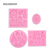 3D Christmas Fondant Mould Set Of 4 Pieces Christmas Tree/Bell/Snowman/Snowflake/sock Shape Silicone Mold cake decorating tools