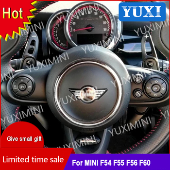 2 Pcs Aluminum alloy Steering wheel paddle shift extend Cover For MINI Cooper S JCW F54 F55 F56 F57 F60 Modification accessories 9 options super inner accessories for mini cooper f54 f55 f56 f60 union jack carbon fiber interior steering wheel center cover