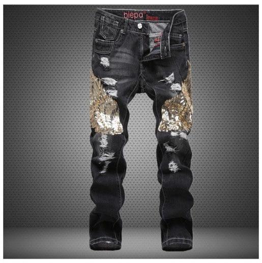 European American Style Designer Men Jeans Luxury Black Men's Casual Denim Trousers Hole Slim Straight Brand Jeans For Men