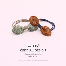 EUHRA 4 Colors Cloth Bow Bow-knot Elastic Girls Hand Knotted Women Hair Bands Kid Children Rubber High Elasticity