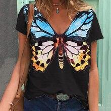Mulher verão borboleta t camisa harajuku moda inseto animal impresso plus size v pescoço manga curta topos
