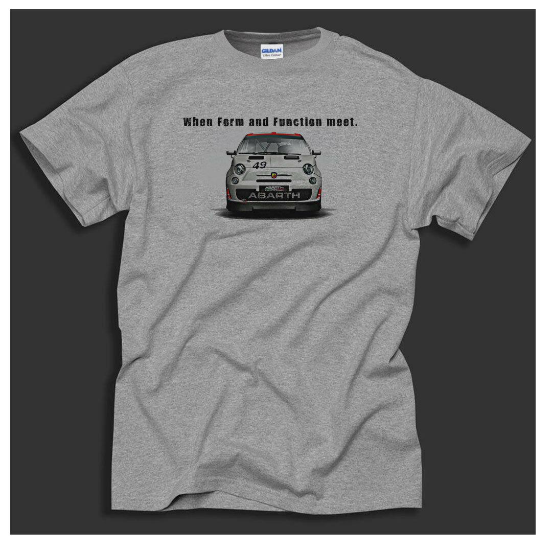 Fiat Abarth 500 Racing Italian Cult Classic Car Retro Sport Grey T-Shirt