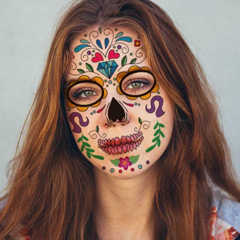 Halloween Sementara Wajah Seni Tahan Air Topeng Panas Tato Sementara Stiker untuk Makeup Pesta Gula Tengkorak Wajah Stiker