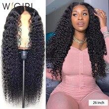 Wigirl malaio encaracolado 13x4 perucas de renda 28 30 Polegada onda profunda cabelo humano peruca de fechamento longo para preto